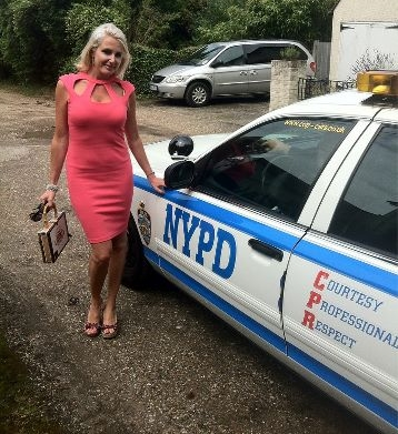 Nancy Sorrell with NYPD Car
